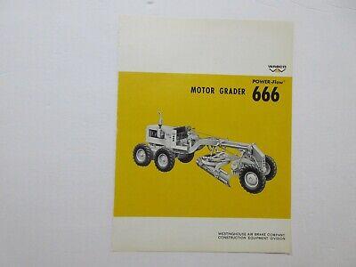 Rare Wabco 666 Motor Grader Sales Sheet 1968