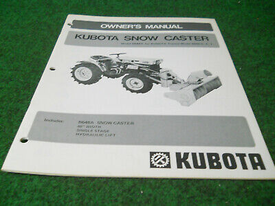 Kubota B648a Rotary Snow Plow Blower Owners Manual Fits 6000 Cet