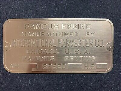 Famous International Harvester Brass Data Plate Tag Antique Gas Engine Hit Miss