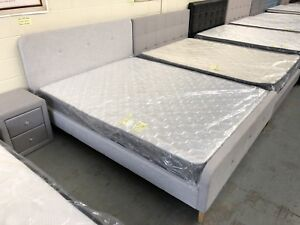Brand new flat pack fabric bed with pocket spring vacuumed mattress