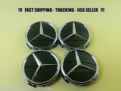 4x CENTER CAP GLOSS BLACK CHROME FIT MERCEDES BENZ ML S  E C GL GLK  WHEEL CAPS