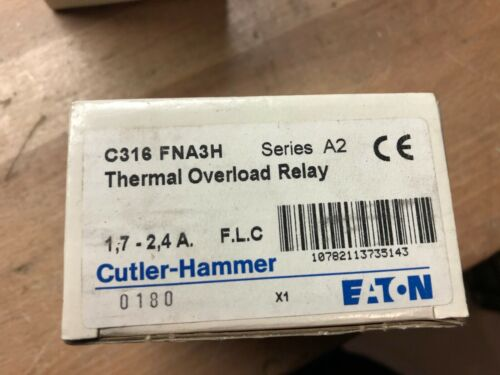 Cutler Hammer C316FNA3H Series A2 Thermal Overload Relay 1.70-2.4 FLC | NEW