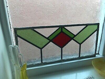 3 X Original Stain glass Window Panels Green Red Art Deco