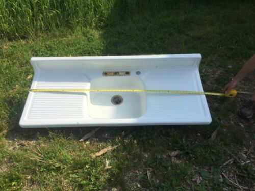 Vtg Mid Century White Porcelain Single Basin Double Drainboard Farm Sink