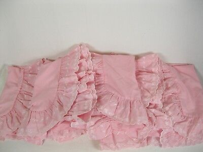 Twin size Pink Hearts  Ruffled canopy bed top/ four side panels  (Pink Canopy Top)