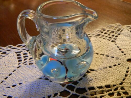 """Vintage St Clair Paperweight Pitcher Creamer Blue Controlled Bubbles 3.5"""""""