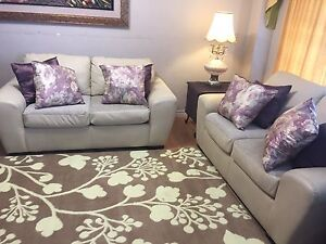 Real leather couch set (with free delivery)
