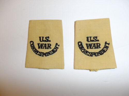 c0394p WW 2 US War Correspondent tan uniform shoulder tabs slip on pair R10E