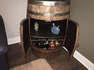 Wine cabinet made out of an wine barrel