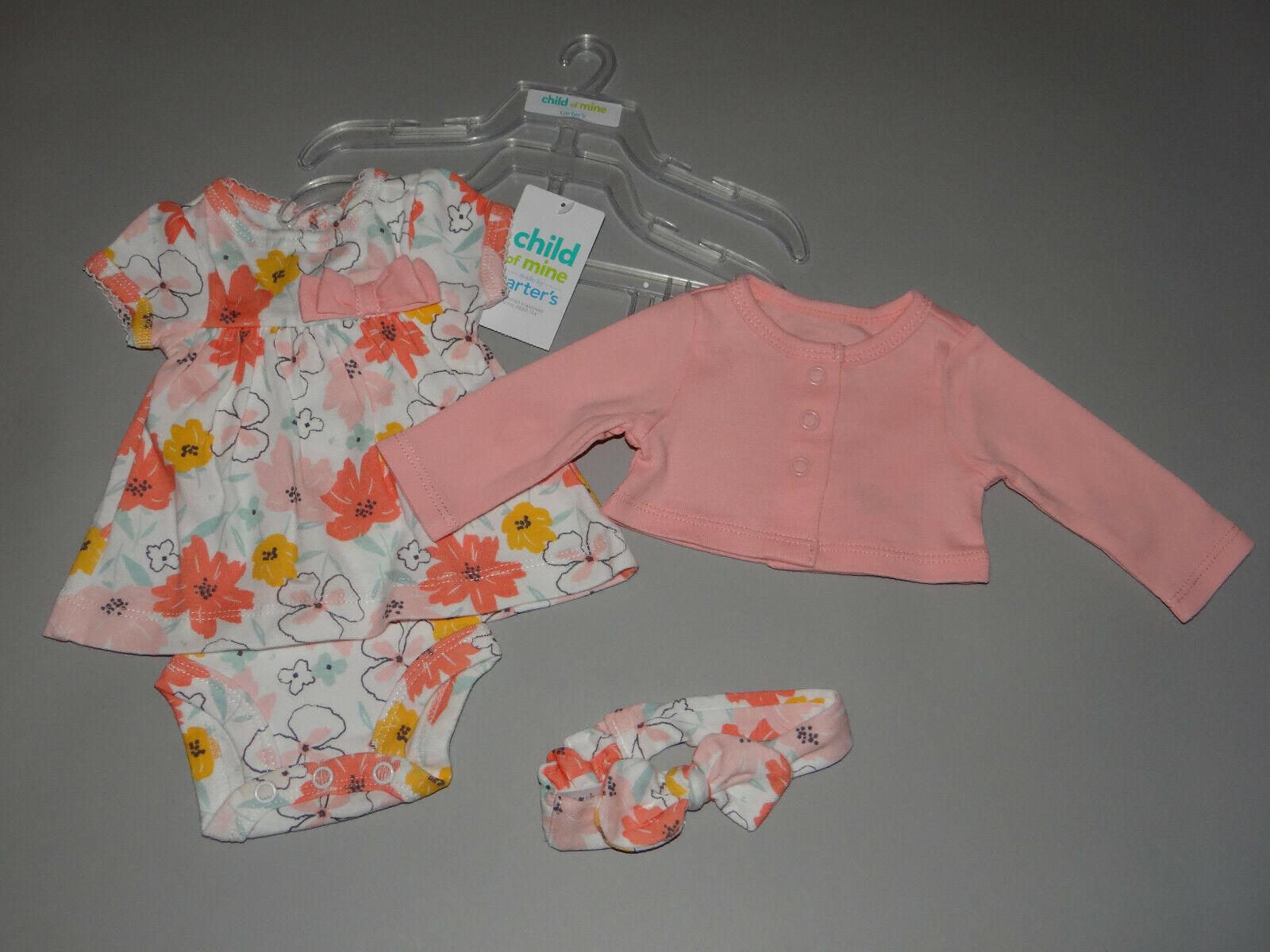 NWT, Baby girl clothes, Newborn, Carter's 3 piece dress & cardigan set