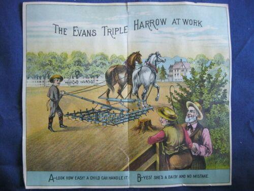 Victorian Trade Card Evans Harrows Corn Planter FARMERS Horse Plow Boy 4A