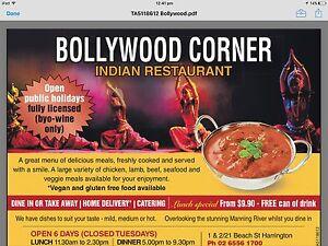 bollywood corner indian restaurant Harrington Greater Taree Area Preview