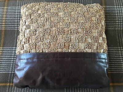 R&Y AUGOUSTI Woven Art Deco-style Fabric Cushion with Leather Trim. Suede Back.