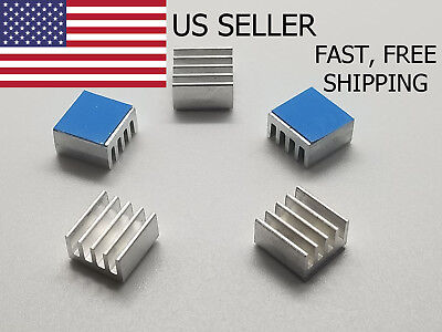 5pcs 8.8x8.8x5mm Adhesive Aluminum Heatsink Led Memory Raspberry Pi Ic Us Seller