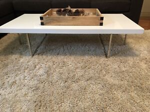 Structube Modern white chrome stainless coffee table