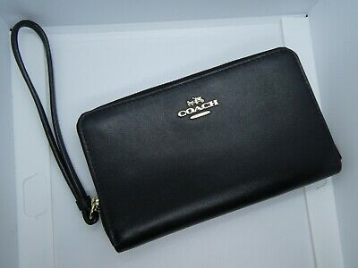 COACH Universal Zip Case / Wallet / Wristlet. Black Smooth Leather. Never Used