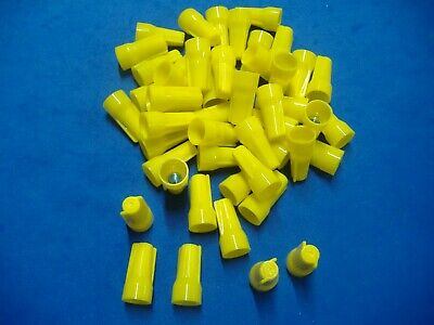 Lot Of 100 Yellow Easy-cap Wire Connector Conical Connectors Twist-on Nuts