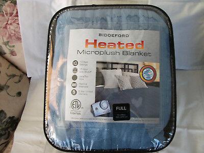 Biddeford Electric Heated Warming Micro Plush Blue Full Blanket Digital Control