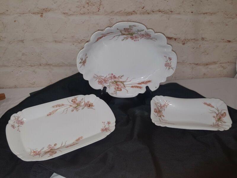 Vintage Set of 3 Mark & Gutherz Carlsbad Austria Floral Platters Bowl 2094