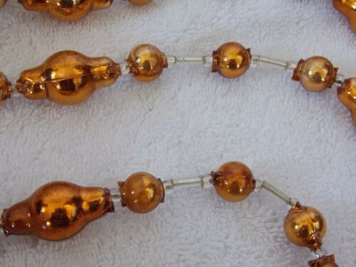 Vintage Copper Color Beaded Christmas Garland 70""