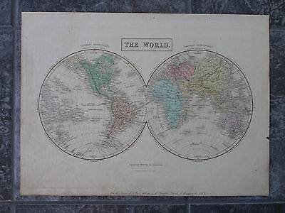 1851 Map Of The World  Blacks General Atlas  E W Hemispheres 16 3 4  X 12 1 4
