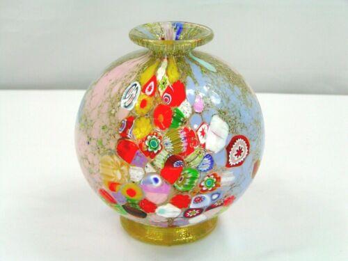 """Signed Imperio Rossi Murano Millefiori & Gold Aventurine Art Glass Vase 6.25""""T"""