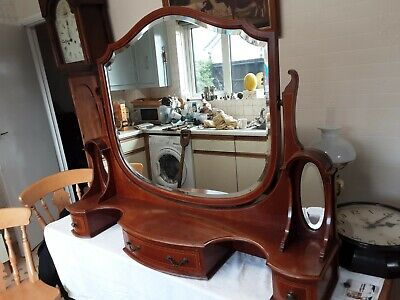 Mirror And Drawers Off A Edwardian Inlaid Table