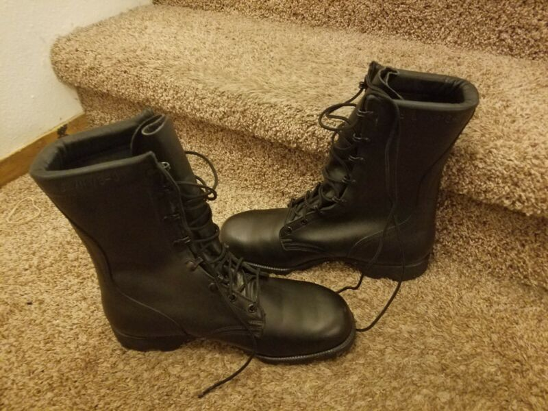 NEW Ro-Search Black Vtg Leather Military Army Combat Boots mens 9W