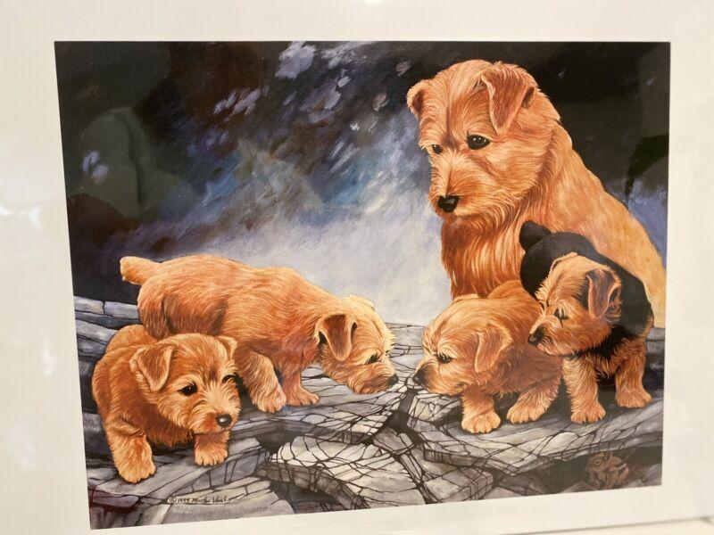Norfolk Terrier Mother & Pups Ltd Ed 11x14 Signed Print By Van Loan