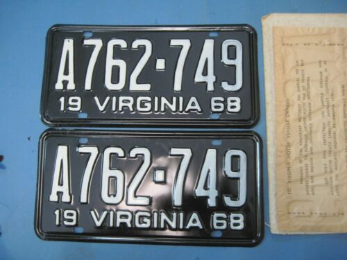 matched pair 1968 Virginia car License Plates never used  DMV clear for vintage