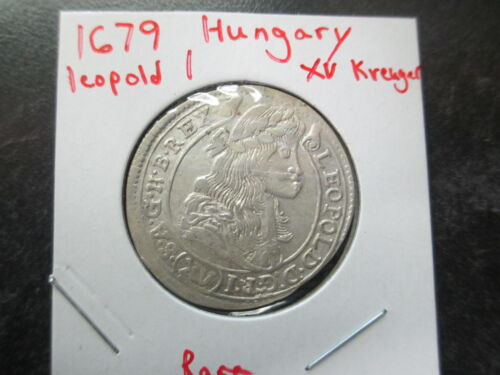 1679 HUNGARY SILVER XV KREUGER COIN LEOPOLD 1 NICE CONDITION RARE