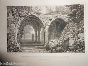 Margam-Abbey-Cloisters-Glamorganshire-1853-Antiquarian-Welsh-Wales-Engraving
