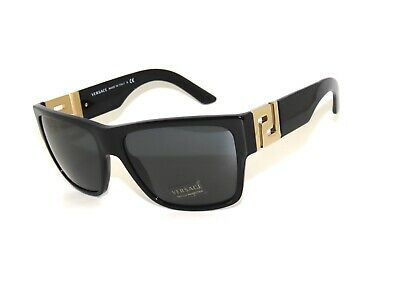 Versace 4296 GB1/87 59 Black Grey Gold Sunglasses Greek Key