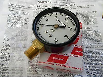 New Harvard 60 Psi Air Pressure Gauge 0-60 Psi Bottomside Mount Brass 14 Npt