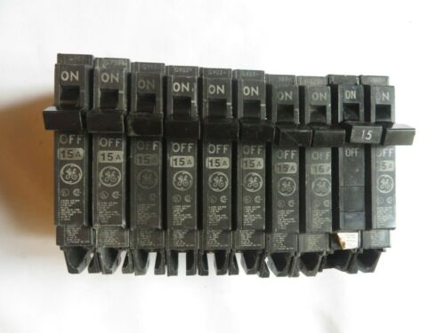 Circuit Breaker GE General Electric 15 Amp 1 Pole Single TESTED Lot of 10