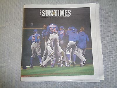 Chicago Sun   Times Chicago Cubs   World Series   Complete Newspaper Nov  3 2016