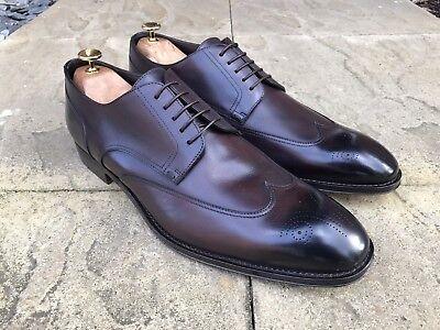 Hugo Boss T- Legender Leather Brogue Shoes Dark Brown Made In Italy UK (Hugo Boss In Uk)