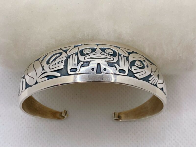 BARRY HEREM Emerging Mankind Sterling Silver Cuff Bracelet 33.1g #yaw