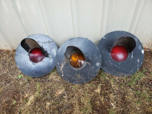 "3 - 20"" Railroad Train Crossing Red & Amber Signal Lights w/side lights"
