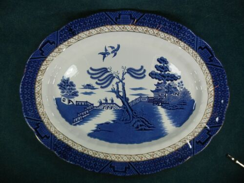 """Booths Real Old Willow A8025 Large Oval 16"""" Serving Platter"""