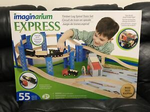 Imaginarium Express- Timber Log Spiral Train Set -55 pieces