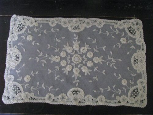 ANTIQUE MAT PLACEMAT APPLIQUÉ FLORAL LACE ON FINE NET CREME HAND DONE FOR PILLOW