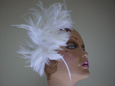 Ladies WHITE FEATHER HAIR COMB  Hat Cocktail  Fascinator DERBY ONE SIZE FITS ALL
