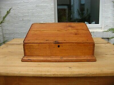 Antique Vintage Church Pine Bible Box Writing Slope