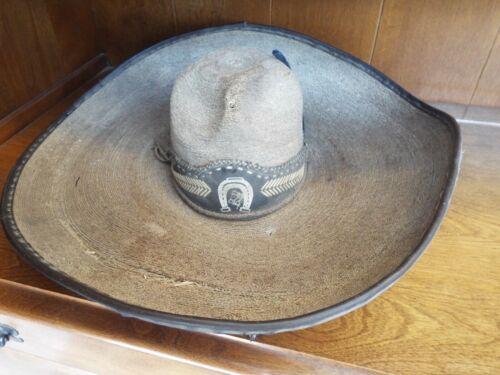 VINTAGE WESTERN MEXICAN DE PALMA 1940s PALM LEAF COWBOY GAUCHO SOMBRERO HAT
