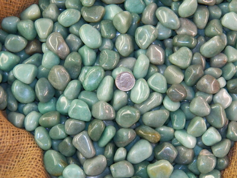 3000 Carat Lots of Polished Tumbled Green Aventurine + FREE Faceted Gemstone