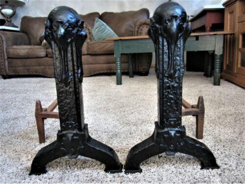 Pair 1927? Arts & Crafts Cast Iron Fire Dog Art Deco Victorian Fireplace Andiron