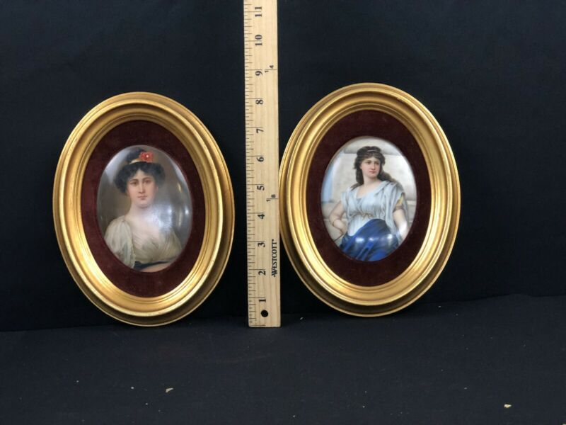 Antique Pair Of Hand Painted KPM Style Porcelain Plaques