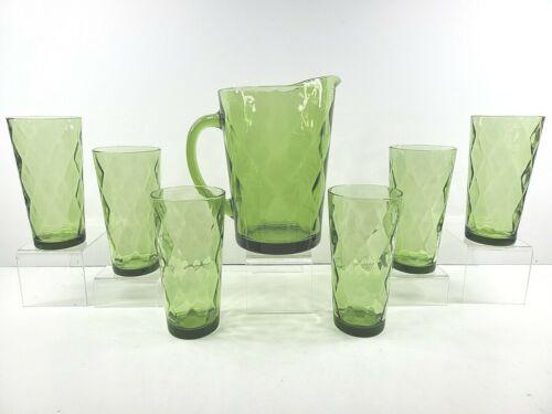 Hazel Atlas Diamond Optic Green Pitcher Tumblers Set Vintage Glasses Mid Century