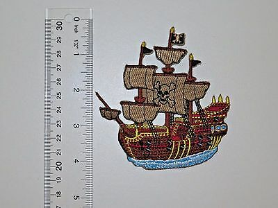 PIRATE SHIP Pirates of the Caribbean Embroidered No Sew Applique Patch Pirate Ship Applique